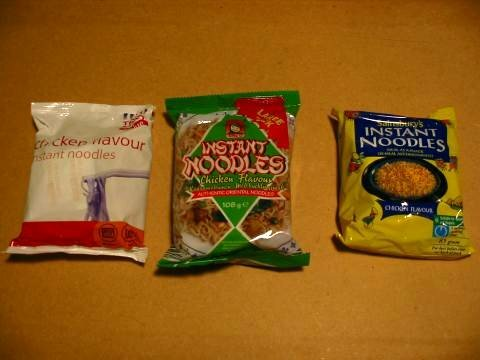 Tesco Value, LIDL and Sainsbury noodles